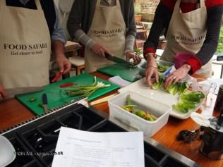 Preparing vegetables at Fish in a Day, Food Safari
