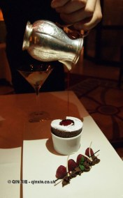 Chocolate soufflé, vanilla tahiti and raspberries at Apsley's, The Lanesborough Hotel