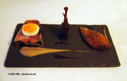 Quail with terrine forestiere, braised leg, fried egg at thirty six by Nigel Mendham, Dukes Hotel