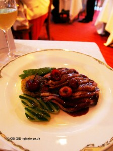 Roasted Challandais duck with cherries and Bourgueil wine, The Waterside Inn, Bray