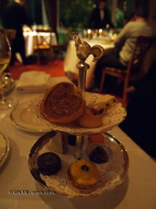 Rooster stand with petit fours, The Waterside Inn, Bray