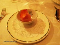 Rose sorbet with crystallised rose, The Waterside Inn, Bray