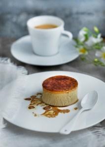 Tonka bean crème brûlée with hazelnut oil and coffee