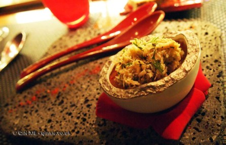 Crabmeat with tomato jelly and avocado, l'Atelier de Joel Robuchon, London