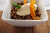Orange mousse with ground almonds, white chocolate and tea at Mallorca Week, Boqueria, Brixton