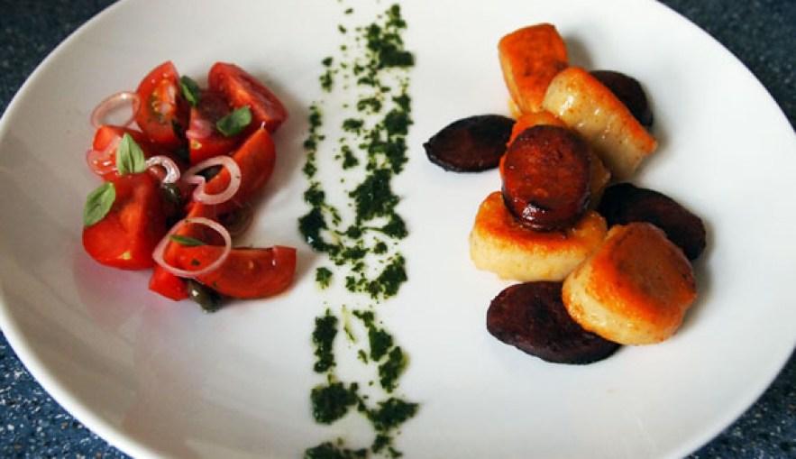 Potato gnocchi with chorizo, basil oil and tomato salad