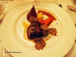 Roast loin of highland venison, celeriac and truffle puree, caramelized pumpkin and poached Williams pear, venison jus, Brancott Estate dinner at Gauthier Soho