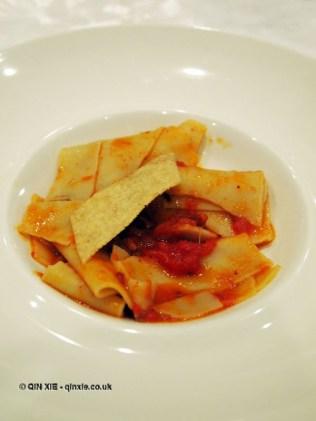Pettole with ventricina tomato sauce, Villa Majella, Abruzzo