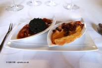 Chorizo, mashed potato, grilled pepper, morcilla, Beronia, Rioja