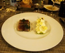 "Tuna tataki with cucumber spaghetti and wasabi ""snow"", Paul Mas, Montagnac"