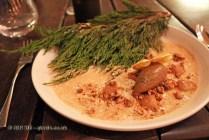 Dessert of pine mushrooms, Boragó, Santiago, Chile