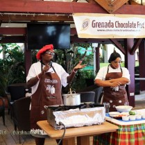 Esther and Omega cooking class, Grenada Chocolate Festival