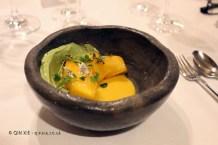Tree ripened mango, cold curry, seeds and herbs (Ricard Camarena), #AtxaAndreRicard at Azurmendi, Larrabetzu