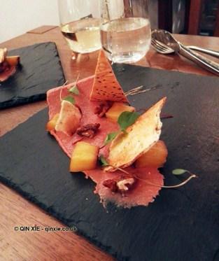 Chicken parfait, charred pineapple, walnuts, Cuisson popdown
