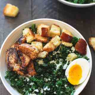 Kale Salad with Chicken, Croutons and Soft Boiled Eggs