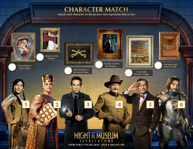 Night at the Museum: Secret of the Tomb Character Match Printable