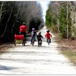 Get the kids outside. Biking as a family. Playing together.