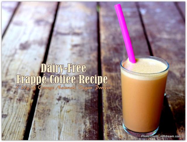 Dairy-Free Frappé Coffee + 27g of Vegan Protein , Vegan Shake, Homemade Iced coffee recipe, Homemade Frappe Coffee Recipe, Orange Naturals protein powder, Orange Naturals Mom