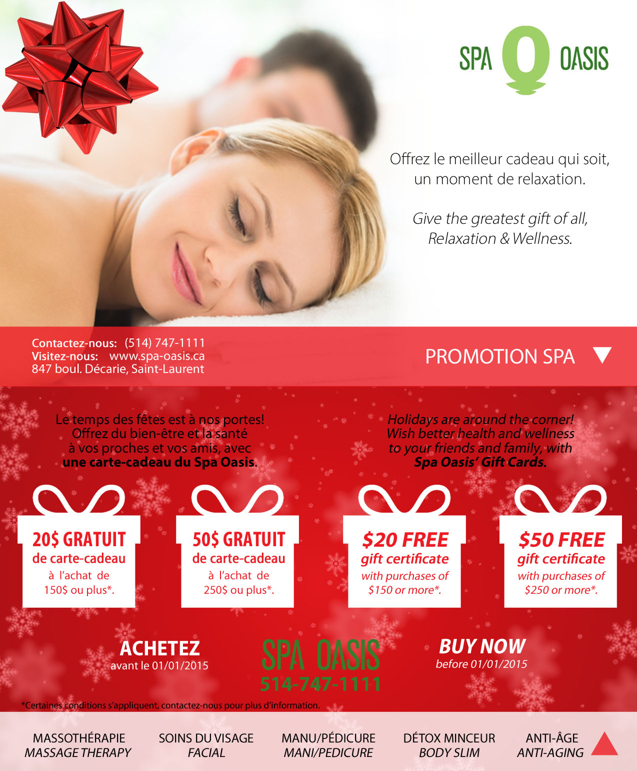 Salon But Promo Montreal Spa Oasis Holiday Promotion For Christmas Gift