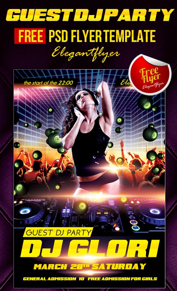 Wallpaper Djs Girl 31 Free Party Amp Club Flyer Templates