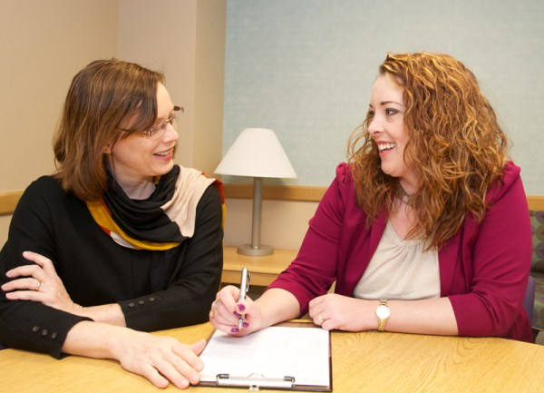 Jill Levin (left) and Bri Baldwin (right) are two of the hospital's five parent partners, who provide emotional support for families and help them navigate their way through the mental health system.