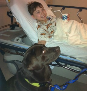 Aiden receives visit from Doggie Brigade after surgery.