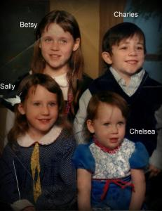 Chelsea in 1988, a year after the surgery, pictured with her brother and sisters.