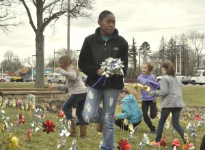 The pinwheels serve as a reminder that everyone plays a role in preventing child abuse and neglect.
