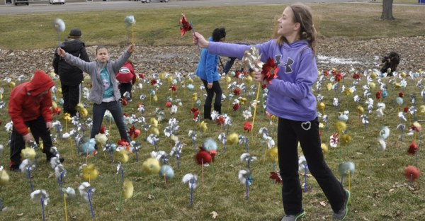 The pinwheels will be on display at Akron Children's Beeghly campus throughout April to raise awareness about child abuse and neglect.