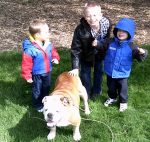 Lucas, Jack and Blake with Diesel