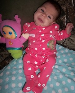 Bekah had torticollis as an infant, which is a twisted neck in which the head is tipped to one side, while the chin is turned to the other.