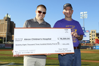 Ron Brubaker, from Giant Eagle, presents Jeffery Hord, MD, with a check for $78,395 at hematology/oncology awareness night at the Akron Aeros' game.