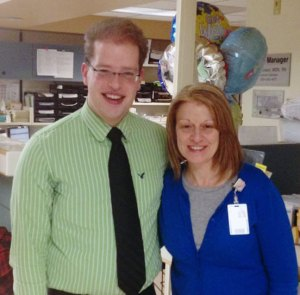 Kevin recently reunited with Mary Kay Walsh, RN, who took care of him when he was in the NICU 23 years ago.
