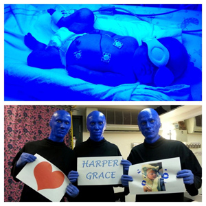 While Harper was under the blue lights, Aaron joked that she was auditioning for Blue Man Group. After passing through a few connections, we received the bottom picture the real Blue Man Group.