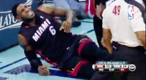LeBron James is down with a thigh contusion after taking a knee to his thigh while driving the basket.