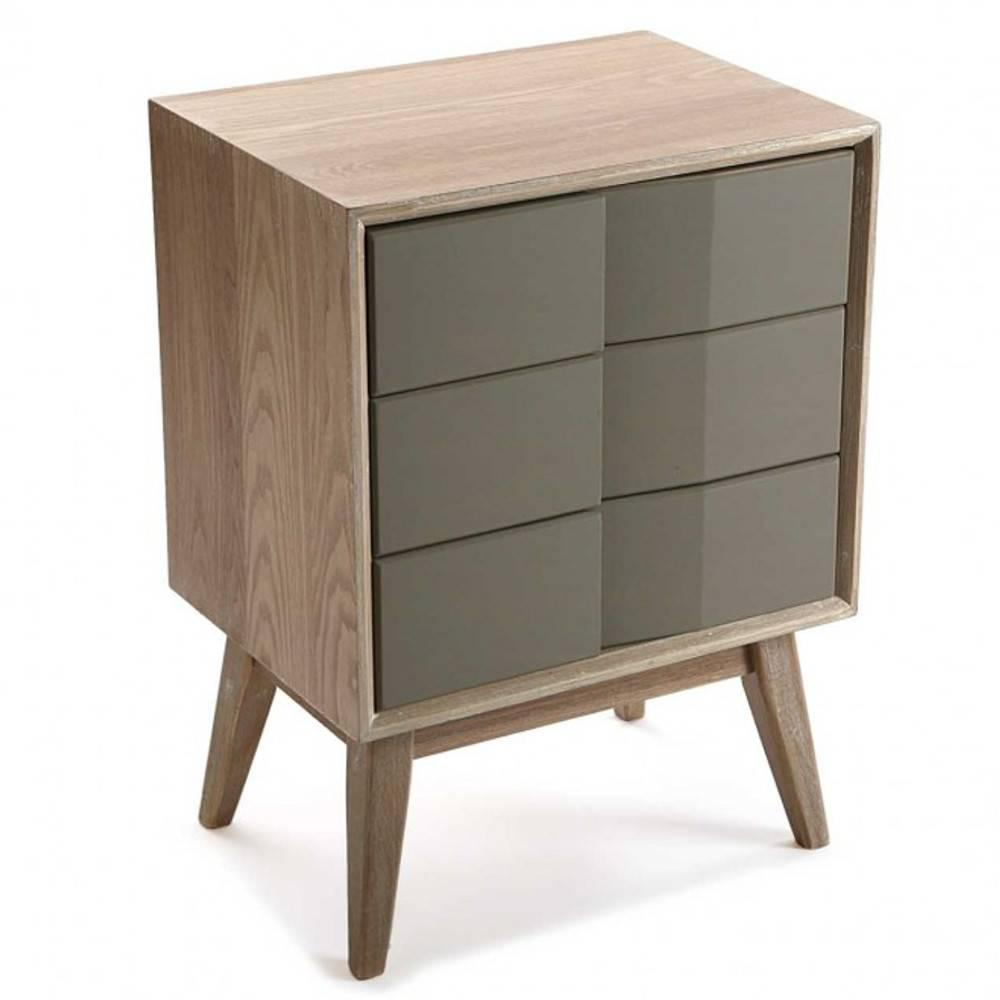 Commode Bois Commode Arvika Moderne Bois Et Laque Taupe 3 Tiroirs