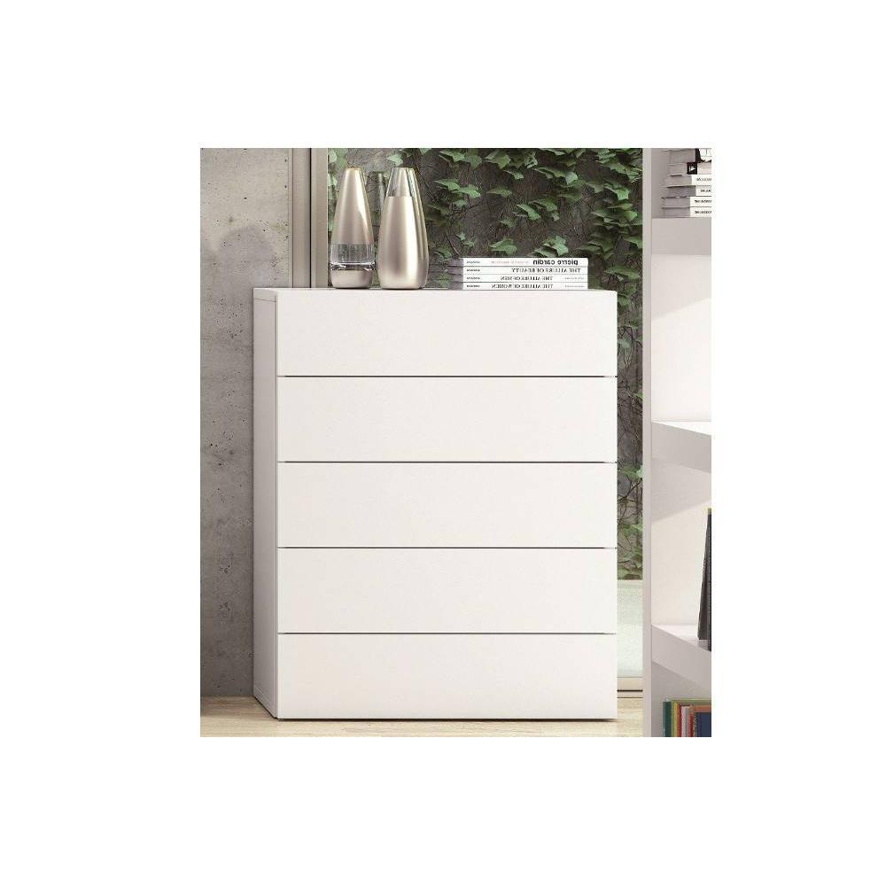 Commode Moderne Blanche Aurora Commode Blanche Mate 5 Tiroirs