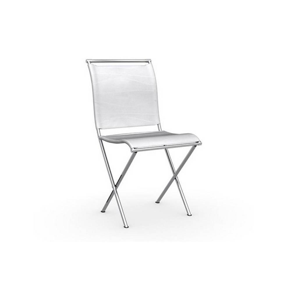 Chaise Blanche Pliante Chaise Pliante Design Air Folding Structure Acier Chromé Assise Tissu Blanc Optique
