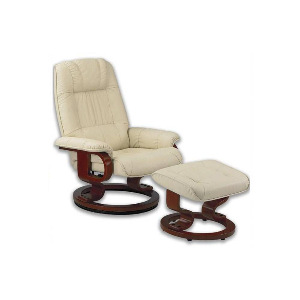 Fauteuil Repose Pied Excel Fauteuil Relax Avec Repose Pieds Cuir Beige