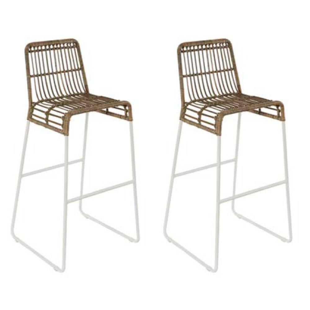 Chaise Rotin Blanche Lot De 2 Chaises De Bar Scandinave Balla