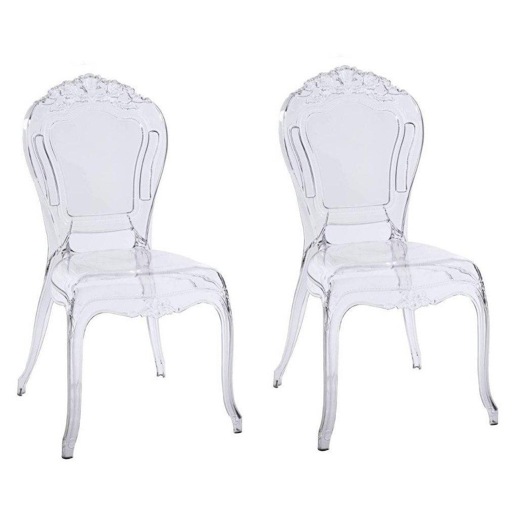 Lot De Chaises Design Lot De 2 Chaises Design Napoleon En Polycarbonate Transparent