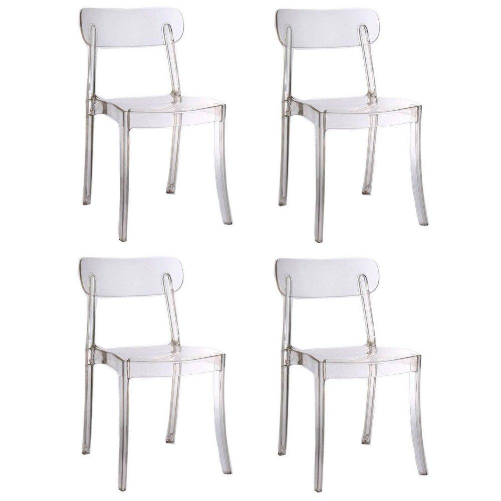 Chaises En Polycarbonate Lot De 4 Chaises Design Bistrot Sixtees En Polycarbonate Transparent