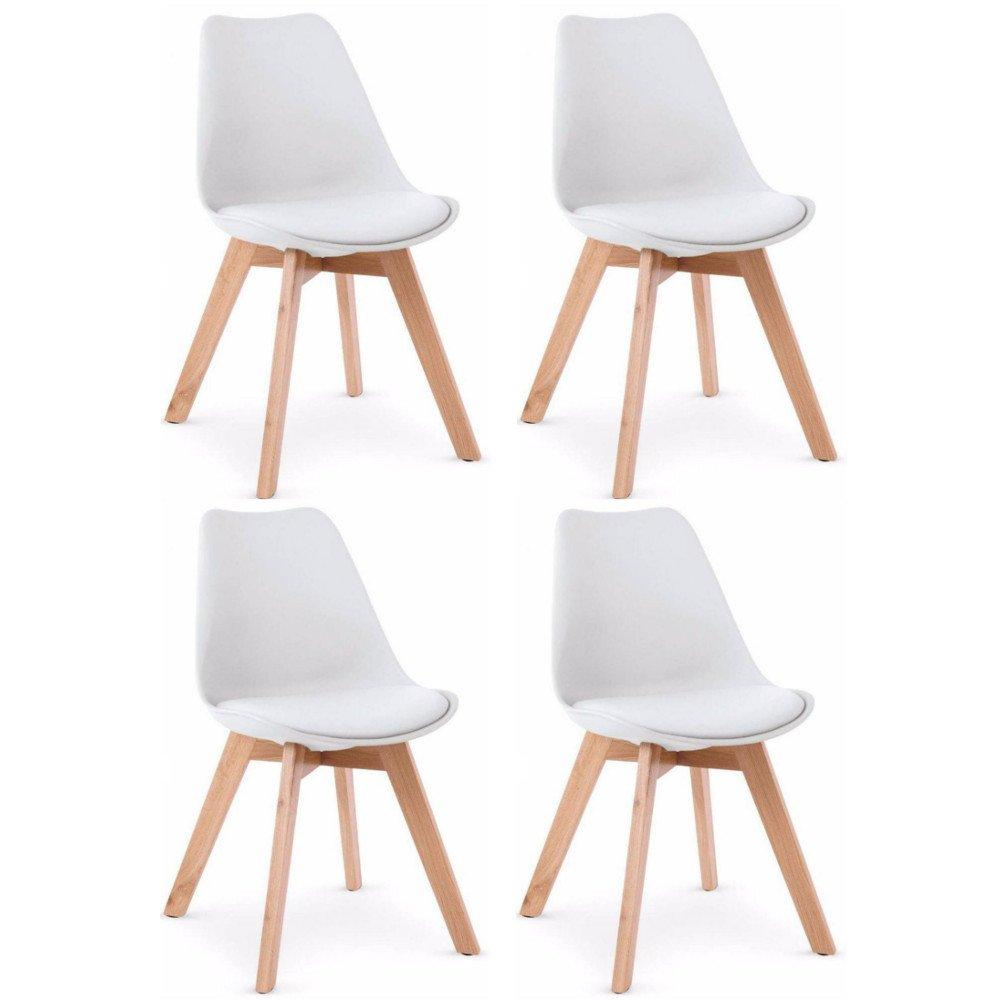 Lot Chaise Scandinave Lot De 4 Chaises Oslo Design Scandinave Blanche Piétement En Hêtre