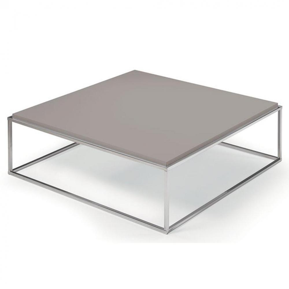 Table Design Carrée Table Basse Carrée Mimi Xl Taupe Structure Acier Inoxydable Poli