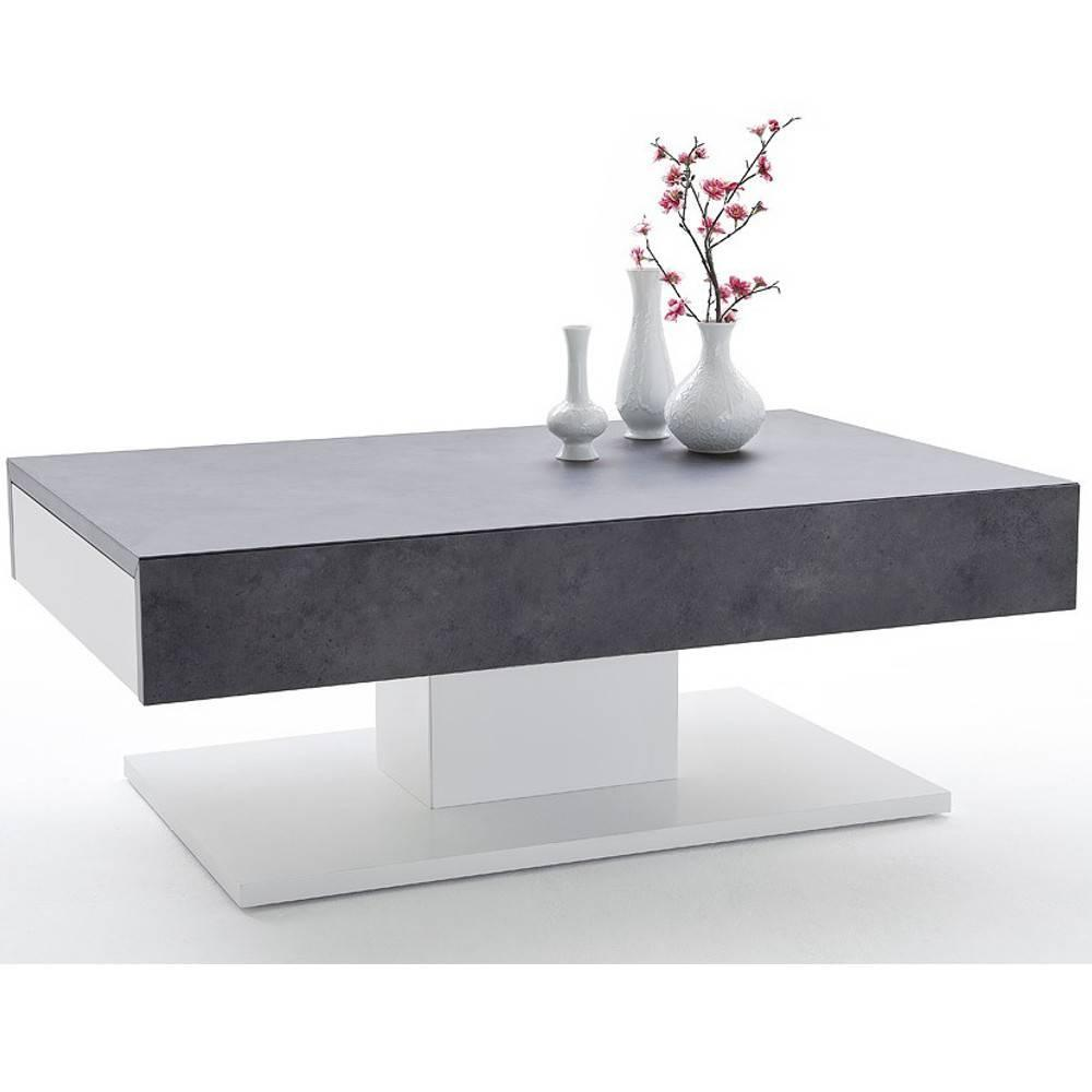 Table Basse Ronde Design Table Basse Design Chani Effet Béton 2 Tiroirs Blanc Mat