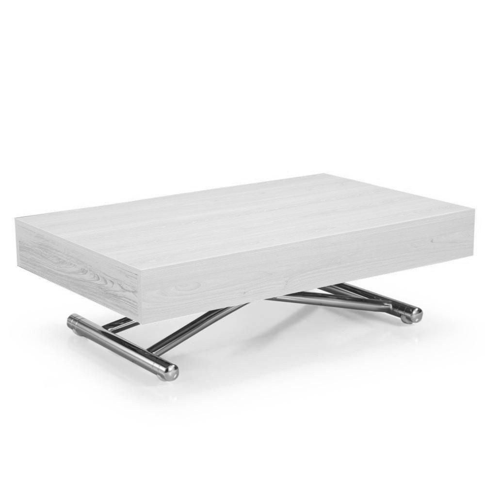 Table Basse Evolutive Table Basse Relevable Cube Chêne Blanc Extensible 10 Couverts