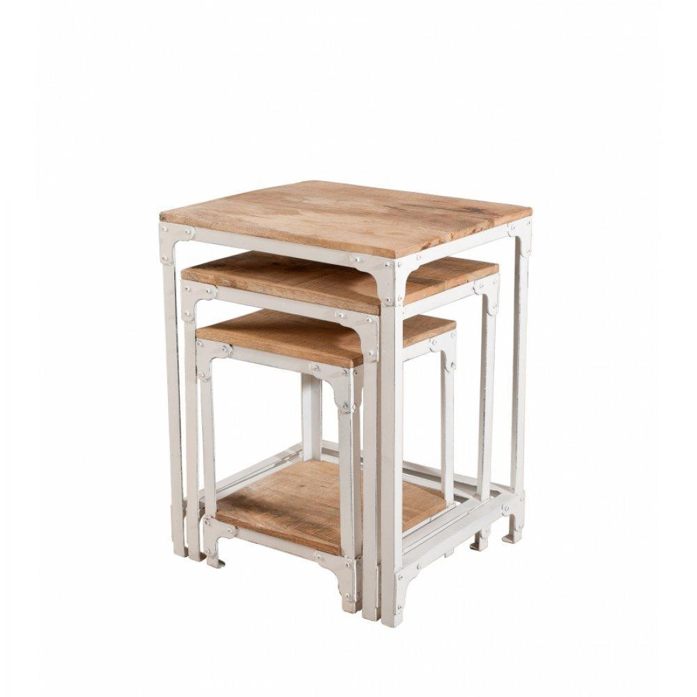 Table Gigogne En Bois Ensemble De 3 Tables Gigognes Raphael En Bois De Manguier Style Industriel