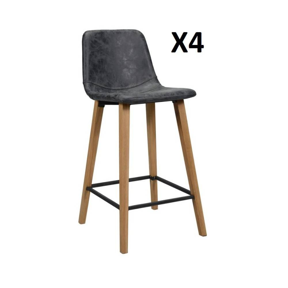 Tabourets Bar Lot De 4 Chaises De Bar Colt Noir