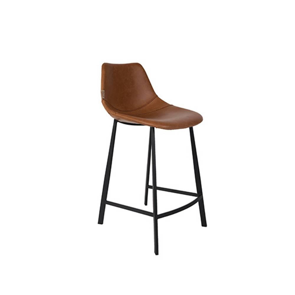 Chaise De Bar Marron Dutchbone Tabouret De Bar Franky Counterstool Revêtement Polyuréthane Façon Cuir Marron
