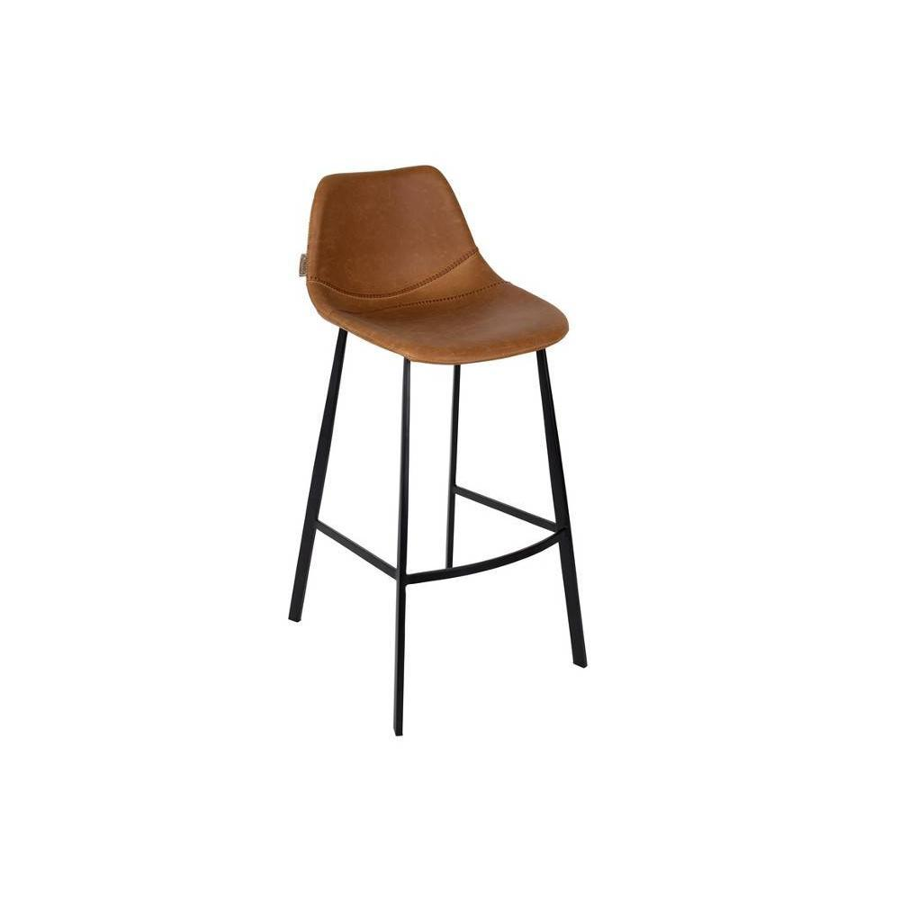 Chaise De Bar En Cuir Dutchbone Tabouret De Bar Franky Barstool Marron
